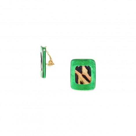 clip earrings green capiz and brown lip Precious savanna