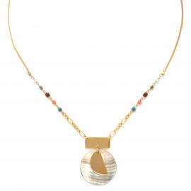 black lip round pendant necklace Lennie - Franck Herval