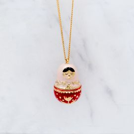 Babuchka red long necklace - Grizzly Chéri