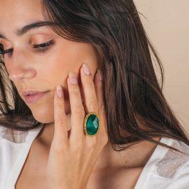 Bague pierre camée - Onyx vert- PALOMA - L'atelier des Dames