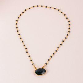 Collier pierre à composer – pierre et médaillon onyx noir – JOE - L'atelier des Dames