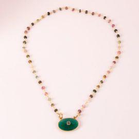 Collier pierre à composer – pierre et médaillon onyx vert – JOE - L'atelier des Dames
