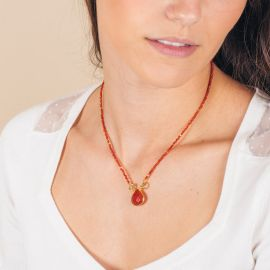 Pearl necklace and cornaline stone drop - JOE - L'atelier des Dames