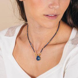 Pearl necklace and lapis stone drop - JOE - L'atelier des Dames