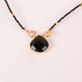 Pearl necklace and black onyx stone drop - JOE - L'atelier des Dames