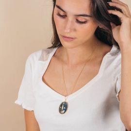 Long multi-stone medallion necklace - ZIA - L'atelier des Dames
