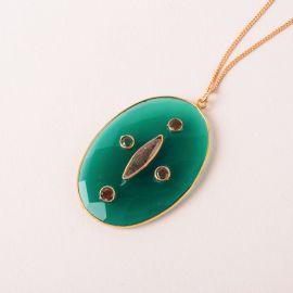 Collier long médaillon multipierre onyx vert – ZIA - L'atelier des Dames