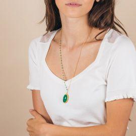 Sautoir pendentif pierre camée onyx vert - PALOMA - L'atelier des Dames