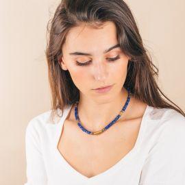 Collier Heishi lapis lazuli- FLORA - L'atelier des Dames