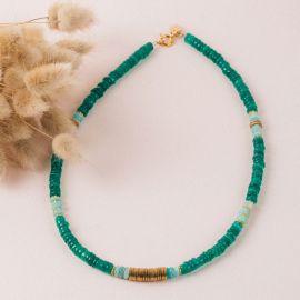 Collier Heishi Onyx vert- FLORA - L'atelier des Dames
