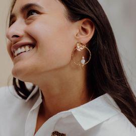 Cockatoo on Flowery circle earrings - 10th Anniversary - Nach